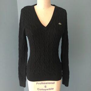 Lacoste Black Vneck Cable Knit Sweater - Sz 40/8/L